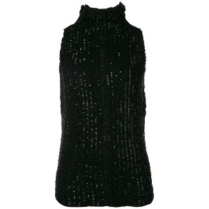 Ermanno Scervino sequin turtleneck tank - ブラック