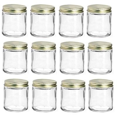 (12, Gold) - Nakpunar 180ml Straight Sided Glass Jars with Lids (Gold, 12)