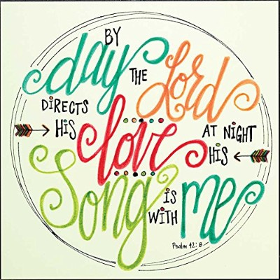 By Day The Lord Directs 14 x 14木製印刷オーバーレイWall Sign Plaque