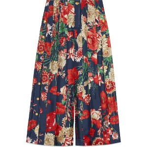 Gucci Spring bouquet silk pleated pant - ブルー