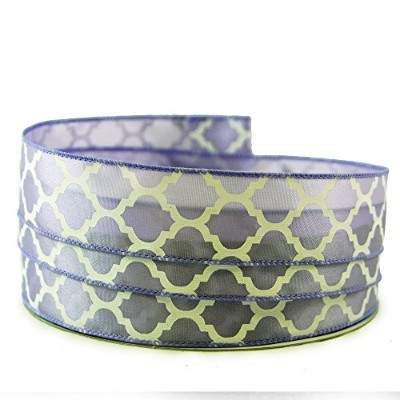 Moroccan Print Light Purple and White Satin Wired Ribbon #9 - 1.5in x 10yards by Party Explosions