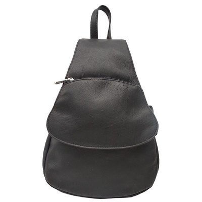 Fashion Avenue Flap-Over Sling Backpack Color: Black by Piel Leather