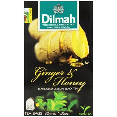 Dilmah Fun Teas String and Tag, Ginger and Honey Flavored Black, 20 Count (Pack of 12) by Dilmah