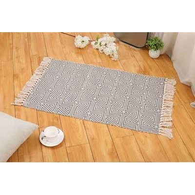(60cm x 90cm, Grey Triangle) - Ecohome Cotton Bath Runner Printed Fringe Rug Geometric Rug for...