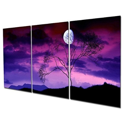 (41cm x 60cm framed) - Gardenia Art - Moon on Trees At Night Canvas Wall Art Paintings Purple and...