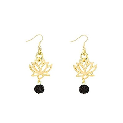 Choa Lotus Flowerイヤリング – Lotus Flower Dangle Earrings with Lava Rock Stone For Woman ゴールド