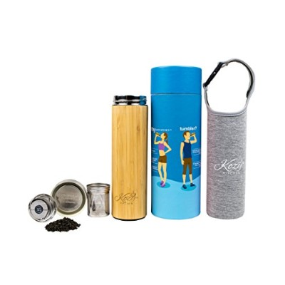 有機竹タンブラーwith Tea Infuser & Strainer by Kozy kitchen| 17ozステンレススチール水bottle| Insulated BpaフリーコーヒーTrave...