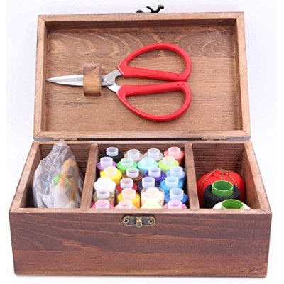 LeBeila Wooden Sewing Kit set Wooden Sewing Basket Brown Sewing Sewing Storage with Sewing Kit...
