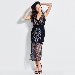 【SALE 10%OFF】ゲス GUESS CASSIA EMBROIDERED MESH DRESS (JET BLACK)