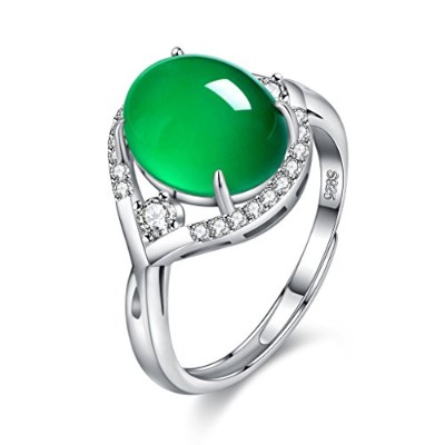 BALANSOHO 925 Sterling Silver Oval Chrysoprase Women Engagement Rings with Cubic Zircoina Resizable...