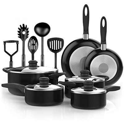 Vremi Vremi 15 Piece Nonstick Cookware Set; 2 Saucepans and 2 Dutch Ovens with Glass Lids, 2 Fry...
