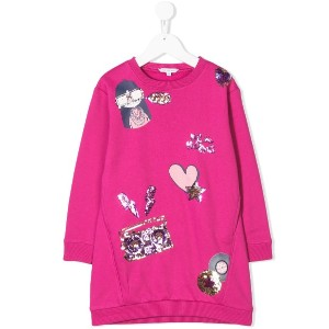 Little Marc Jacobs Miss Marc printed sweatshirt dress - ピンク