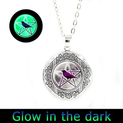 glowlala @鳥Goddess Pentacle GlowingロケットネックレスWiccan GlowingロケットジュエリーPagan GlowingロケットジュエリーウィッカジュエリーGo...