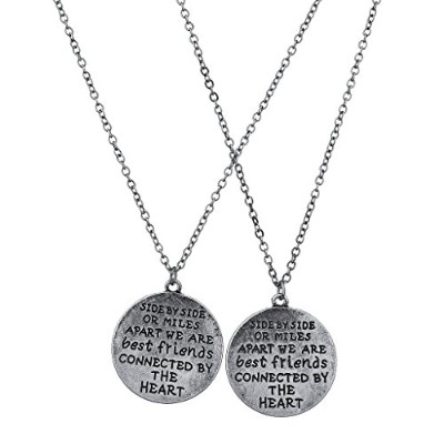 Lux Accessories Burnish Silver Side by Side Best Friends BFF Charm Necklace 2PC