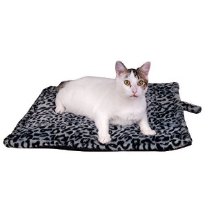 Thermal Cat Pet Dog Warming Bed Mat - GREY, (Leopard Motif) 22 L x 19 W, by Downtown Pet Supply by Downtown Pet Supply