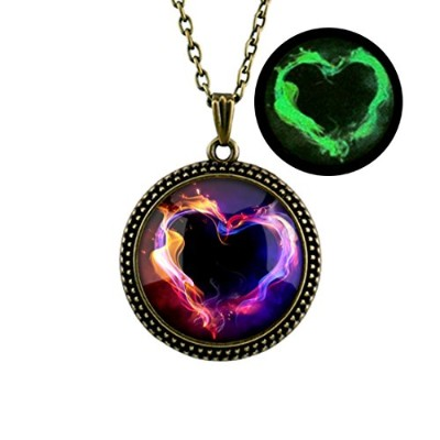 Glowing Heart Shaped Flameネックレス、グローin theダーク、ハートネックレス、シルバーまたはブロンズネックレス