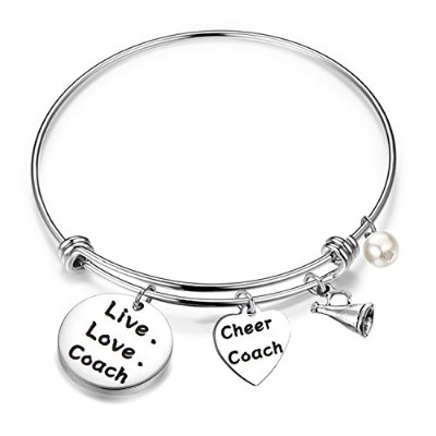 feelmem Cheer CoachブレスレットLive Love Coach Expandable Wire Bangle Cheer Cheer指導者のジュエリーギフト middle