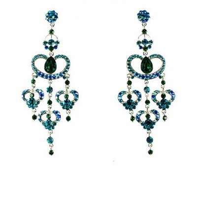 Blue on Silver Plated Dramatic Long Drop Earrings