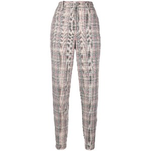 Pinko plaid tapered trousers - ニュートラル