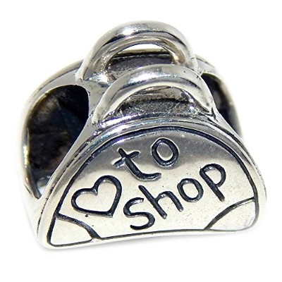 Proジュエリー925Solid Sterling Silver ' Love To Shop 'バッグチャームビーズ