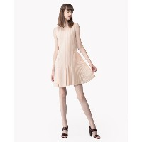 【Theory】Synthetic Crepe Pleated Day Dress 左右アシンメトリーのデザインノースリーブワンピース。 ピンク 大人 セオリー レディース
