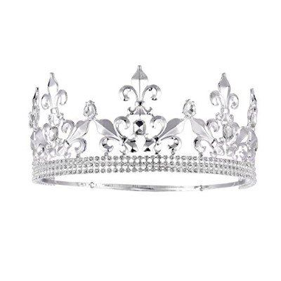 Eseres Adjustable Full Round Imperial Mediaeval Tiara Fleur De Lis King Crown Silver Finish