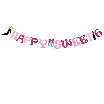 Handmade Sweet 16 Glitter Happy Birthday Banner,16th Birthday Party Supplies Party Decorations