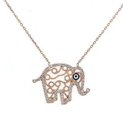 """sterling-silver &キュービックジルコニアElephant Pendant with 18"""" sterling-silverチェーン"""