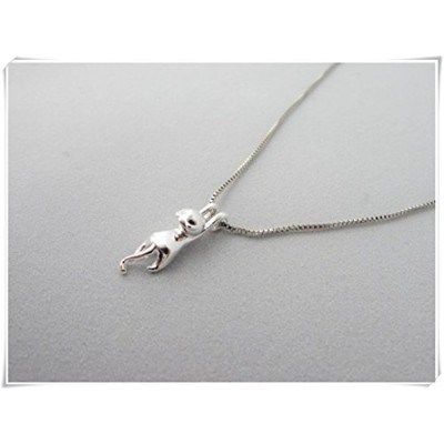 sea-maidenjewellery-925-catシルバーネックレス – pendant-stretching Hanging cat-gift for her-birthday gift...