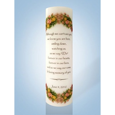 """Personalized Candle Store PersonalizedフローラルWedding Memorial Candle 6"""" Wick Candle 754769800868"""