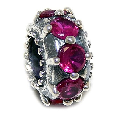 Proジュエリー925 Solid Sterling Silver Small Studdedスペーサwith Fuchsia CZチャームビーズ