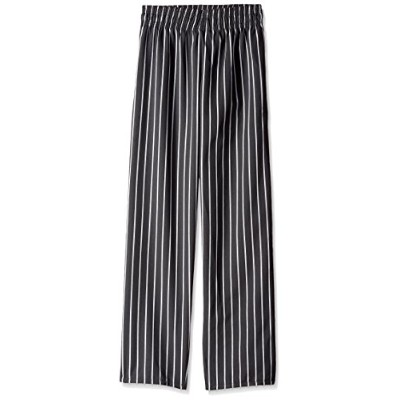 Uncommon Threads 4000-4105 Classic Basic Baggy Chef Pant with 3'' Elastic Waist in Chalk Stripe -...