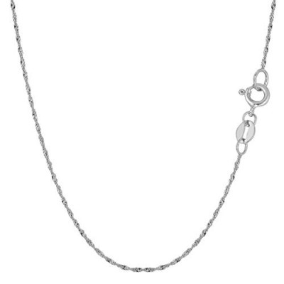 """14k White Gold Singapore Chain Necklace, 1.0mm, 18"""""""