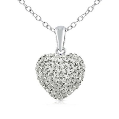 Wow 925 Sterling Silver Cubic Zirconia Cz Crytals Round Heart Pendant Large 15mm Heart Shape...