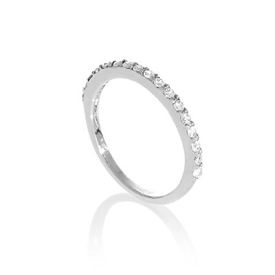 (P) - Sterling Silver & Clear CZ Crystal Half Eternity Ring Size H - W