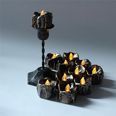 highpot 12個レトロハロウィンライト電子Tears Drop Candle LED Tealightライトハロウィン装飾用ライト