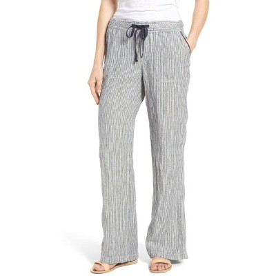 キャスロン レディース レギンス ボトムス Caslon Drawstring Linen Pants (Regular & Petite) Ivory- Navy Seaside Stripe