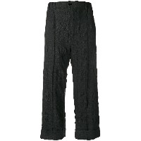Julien David textured cropped trousers - グレー