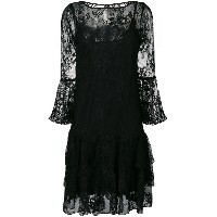 Blumarine lace embroidered flared dress - ブラック