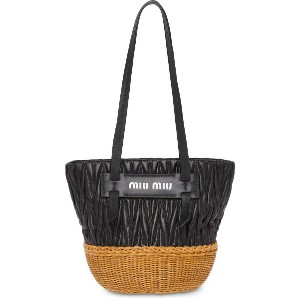 Miu Miu wicker bucket bag - ブラック