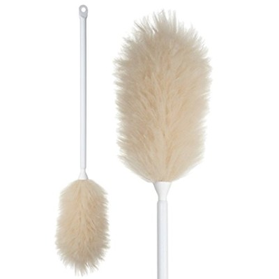 (60cm Reach) - Lambswool Feather Duster, Suitable for Domestic and Professional Cleaning, Attracts and Holds Dust