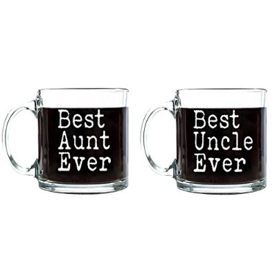 Best aunt-uncle Ever母の/父の日誕生日ギフトの叔母/Uncleコーヒーティー飲料クリアガラスマグカップ 13 oz. Set (Best Aunt-Uncle Ever) ホワイト