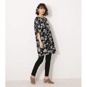 【SALE 70%OFF】【AZUL BY MOUSSY】花柄半袖チュニック BLK