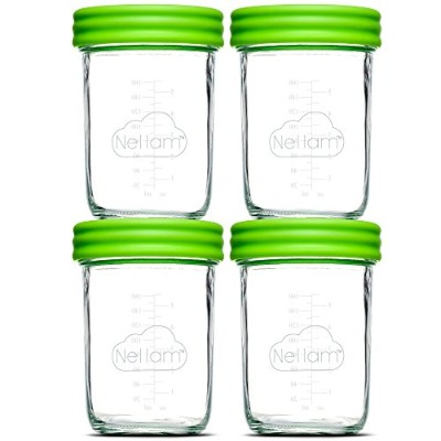 (4x240ml) - Nellam Baby Food Storage Containers - Leakproof, Airtight, Glass Jars for Freezing &...