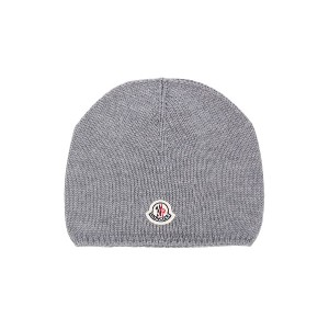 Moncler Kids knitted beanie hat - グレー
