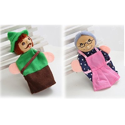 Tonsee 4PCS Wooden head Finger Puppets toy Little Red Riding Hood story Christmas Gifts Baby...