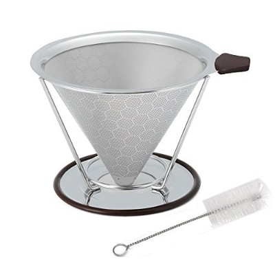 Premium Stainless Steel Coffee Filter, Paissite Reusable Pour Over Coffee Dripper Cone With Non...