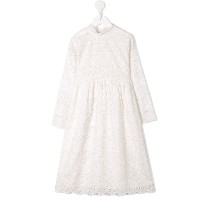 Bonpoint embroidered flared dress - ホワイト