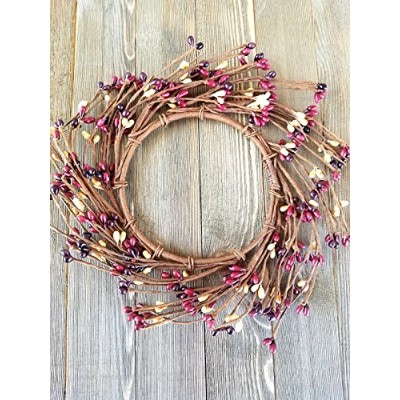 """Mulberry Mini WreathまたはCandleリング国プリミティブフローラル飾りPerfect Candle Ring for 4"""" Pillars (Wreathは8インチ)"""
