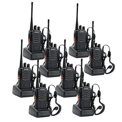 Walkie Talkies充電式Long Range 2 WayラジオCTCSS/DCS Built In LEDトーチwithオリジナルイヤホンfor Adults (Pack of 8 )